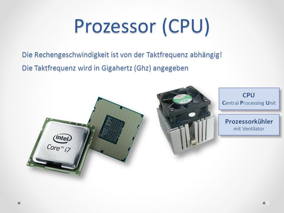 Prozessor (CPU) Die Rechengeschwindigkeit ist von der Taktfrequenz abhängig! Die Taktfrequenz wird in Gigahertz (Ghz) angegeben.