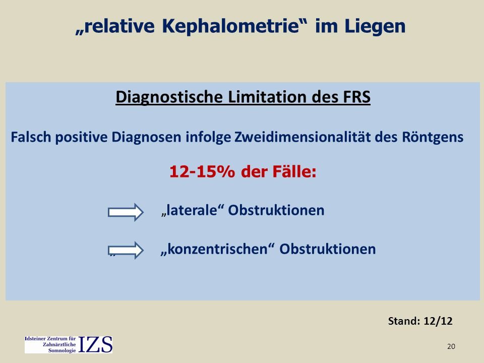 """relative Kephalometrie im Liegen"