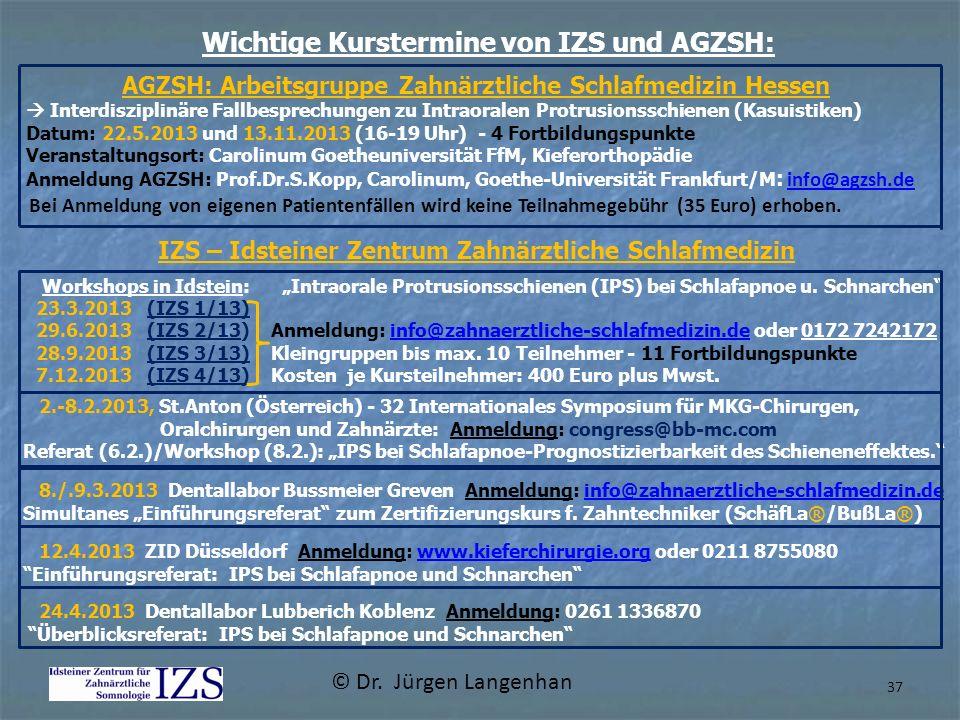 Wichtige Kurstermine von IZS und AGZSH: