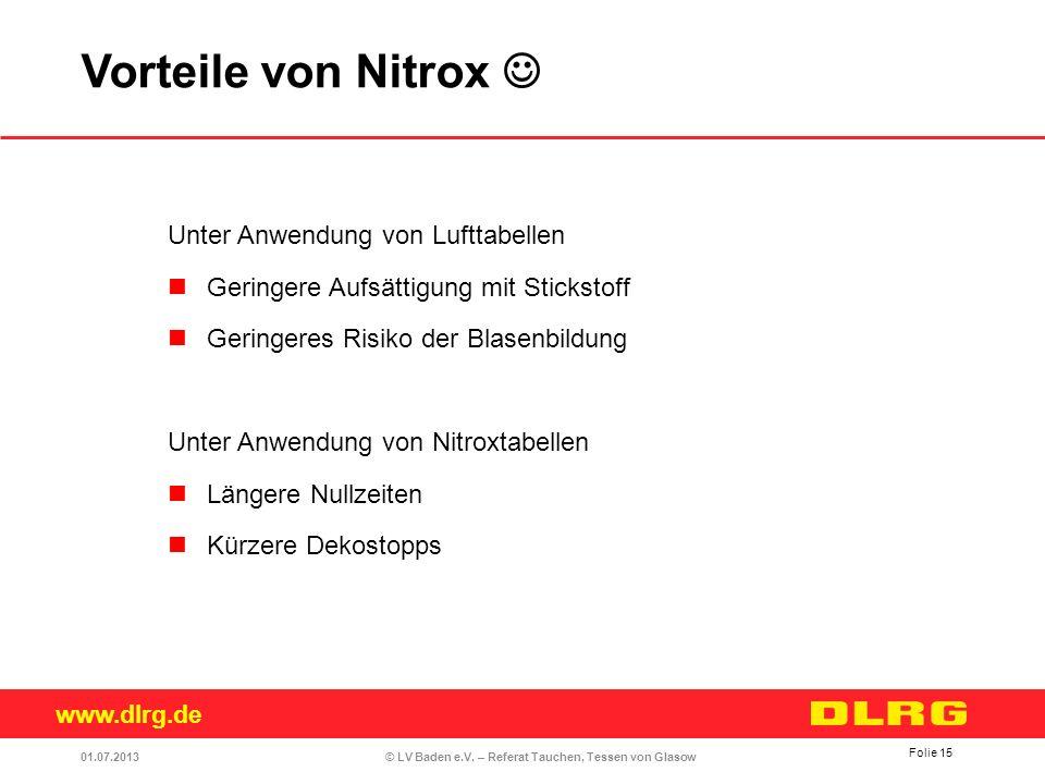 Vorteile von Nitrox  Unter Anwendung von Lufttabellen