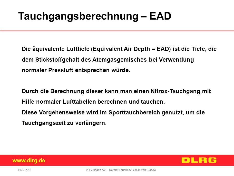 Tauchgangsberechnung – EAD