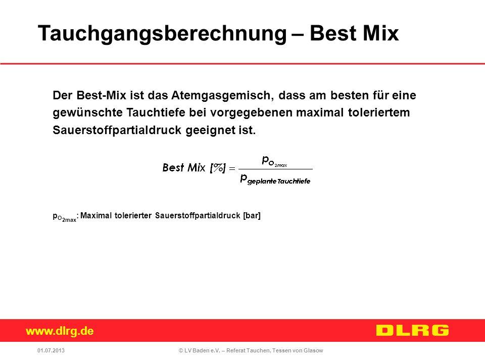 Tauchgangsberechnung – Best Mix