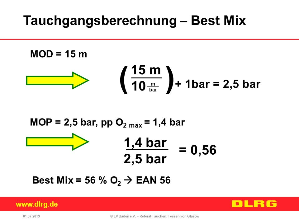 ( )+ 1bar = 2,5 bar Tauchgangsberechnung – Best Mix 15 m 10 1,4 bar