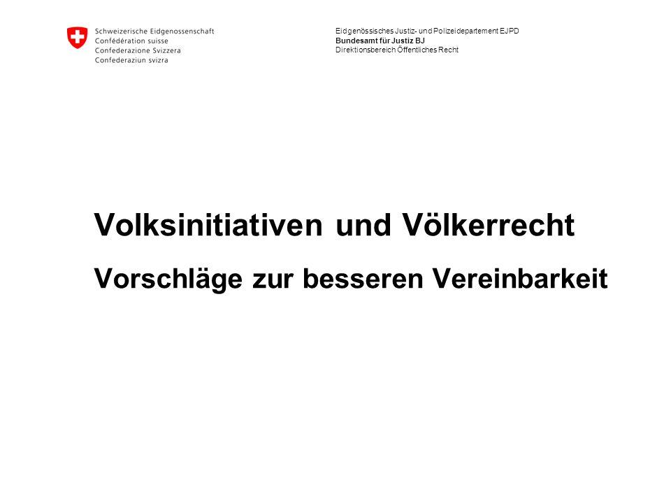 Volksinitiativen und Völkerrecht Vorschläge zur besseren Vereinbarkeit