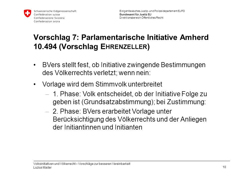 Vorschlag 7: Parlamentarische Initiative Amherd 10