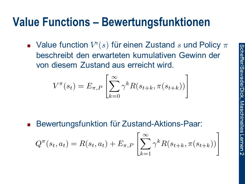 Value Functions – Bewertungsfunktionen