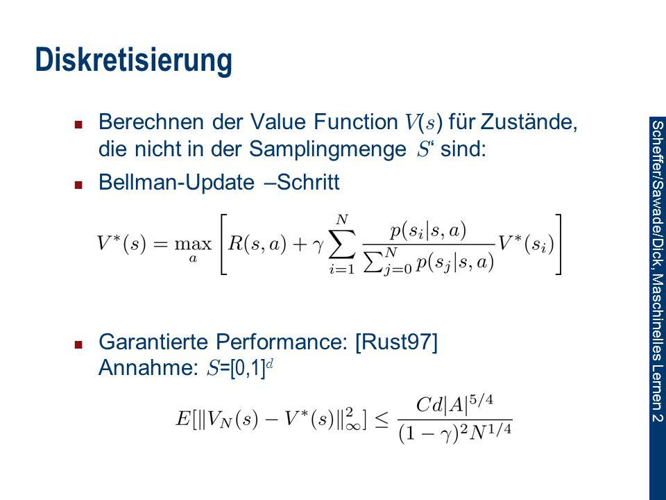 Diskretisierung Berechnen der Value Function V(s) für Zustände, die nicht in der Samplingmenge S' sind:
