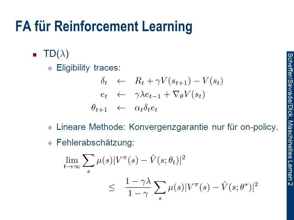 FA für Reinforcement Learning
