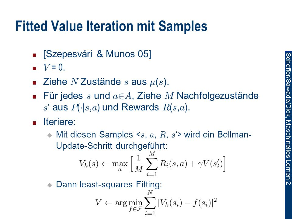 Fitted Value Iteration mit Samples