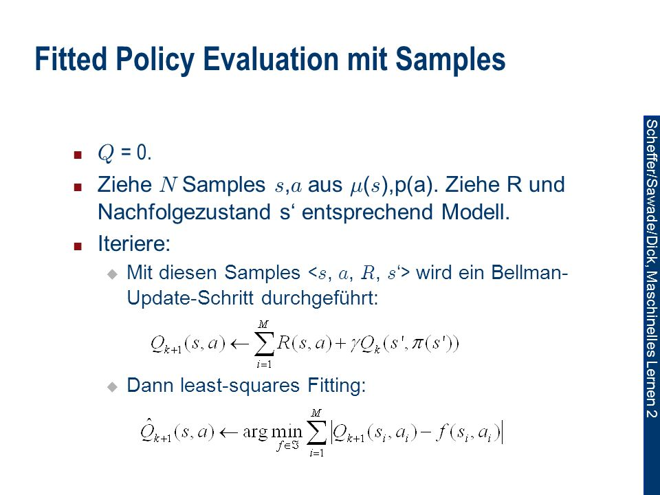 Fitted Policy Evaluation mit Samples