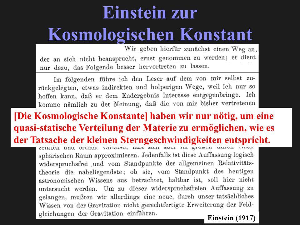 Einstein zur Kosmologischen Konstant