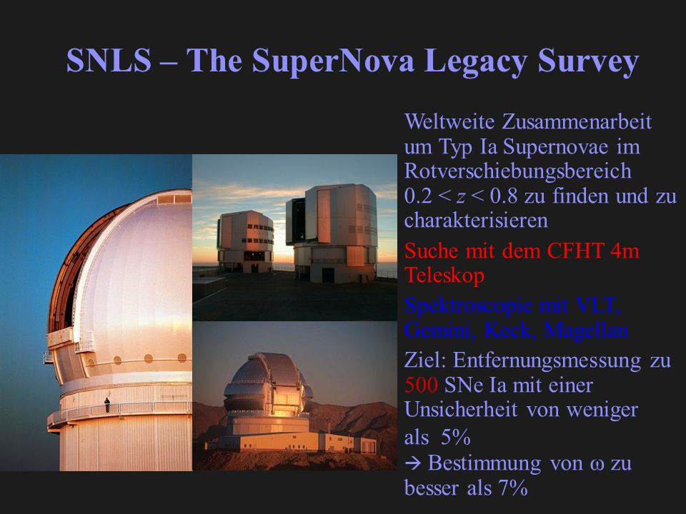 SNLS – The SuperNova Legacy Survey