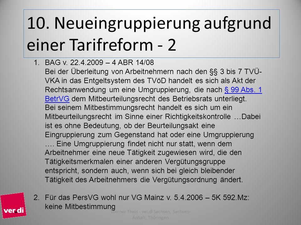 10. Neueingruppierung aufgrund einer Tarifreform - 2