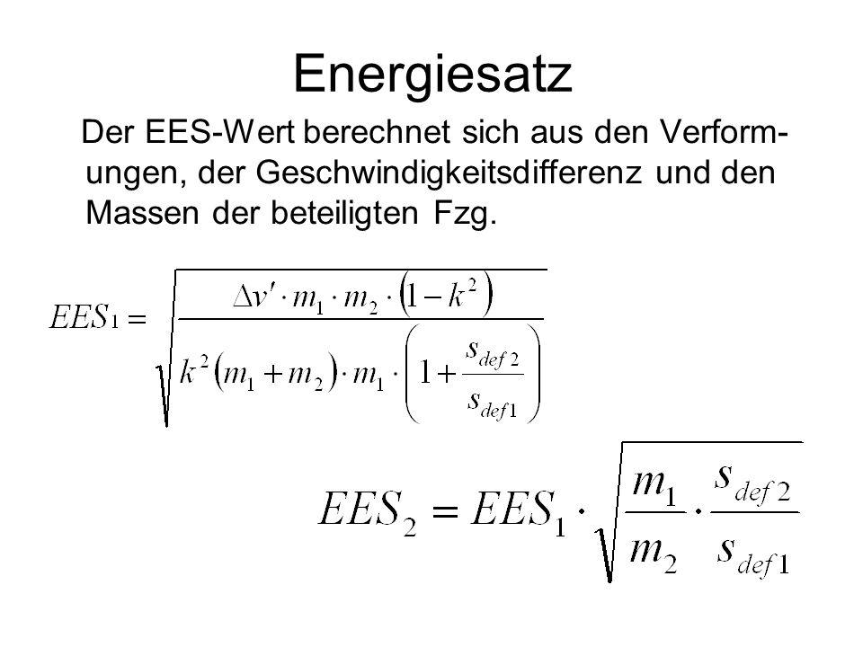Energiesatz Der EES-Wert berechnet sich aus den Verform-ungen, der Geschwindigkeitsdifferenz und den Massen der beteiligten Fzg.