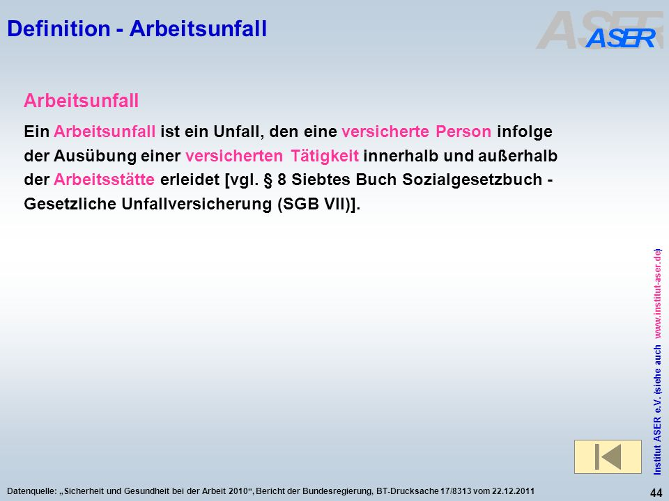Definition - Arbeitsunfall