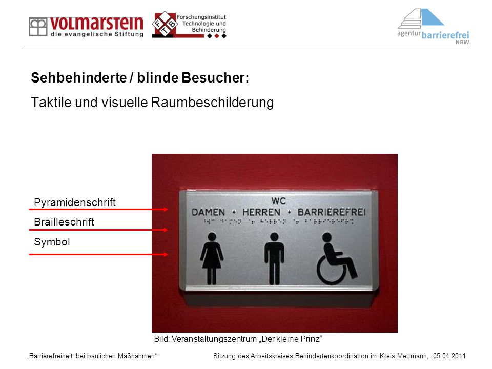 Sehbehinderte / blinde Besucher: