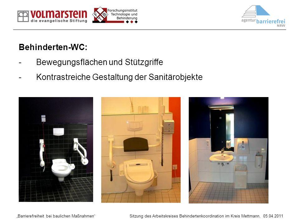 Behinderten-WC: Bewegungsflächen und Stützgriffe Kontrastreiche Gestaltung der Sanitärobjekte