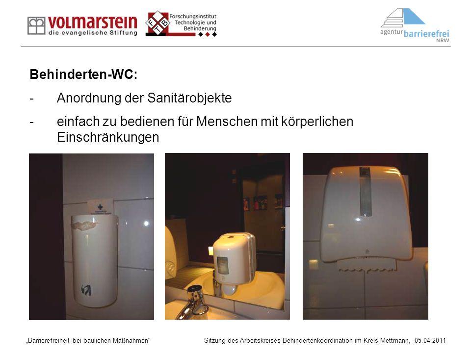 Behinderten-WC: Anordnung der Sanitärobjekte.