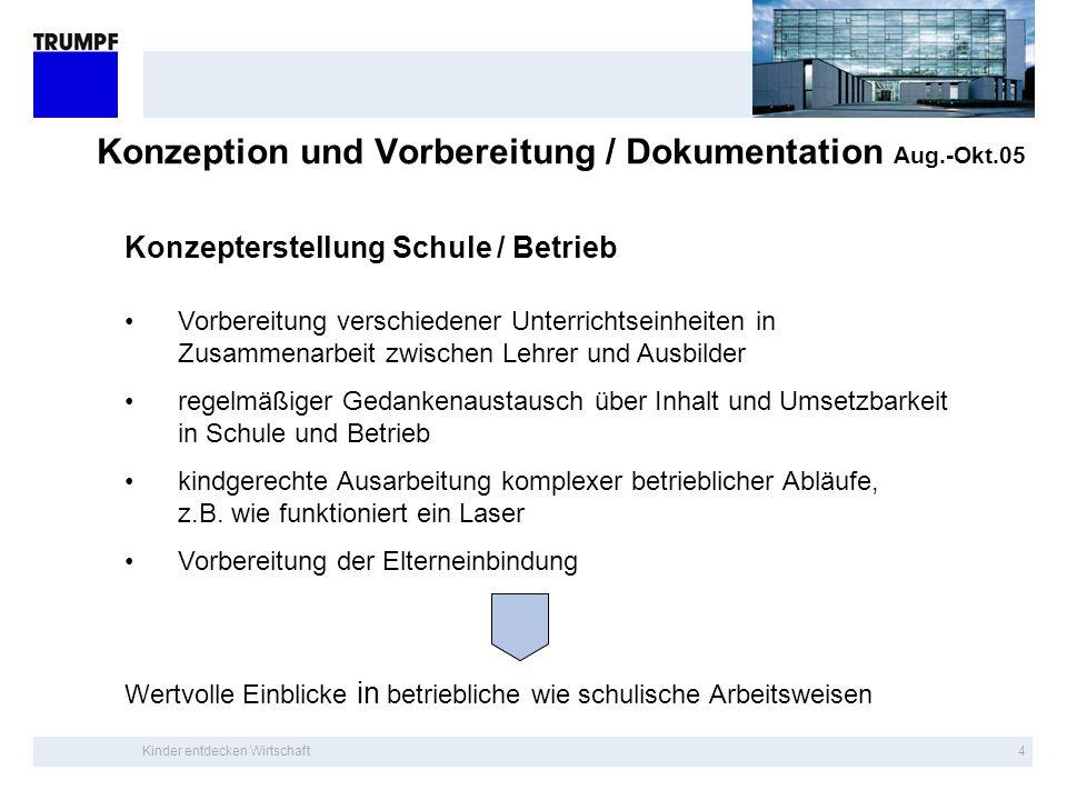 Konzeption und Vorbereitung / Dokumentation Aug.-Okt.05