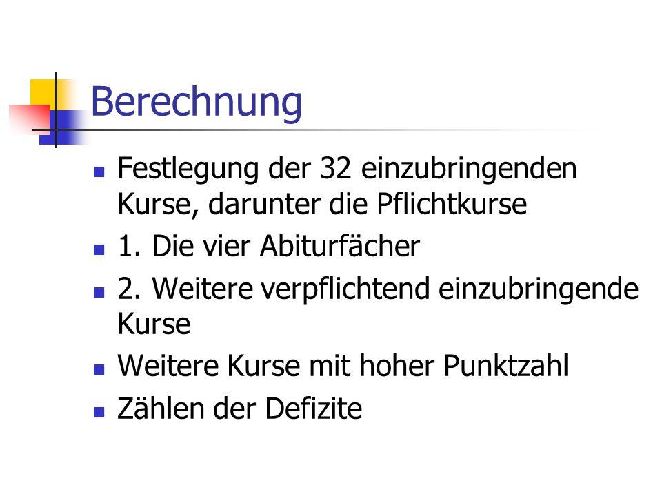 Berechnung Festlegung der 32 einzubringenden Kurse, darunter die Pflichtkurse. 1. Die vier Abiturfächer.