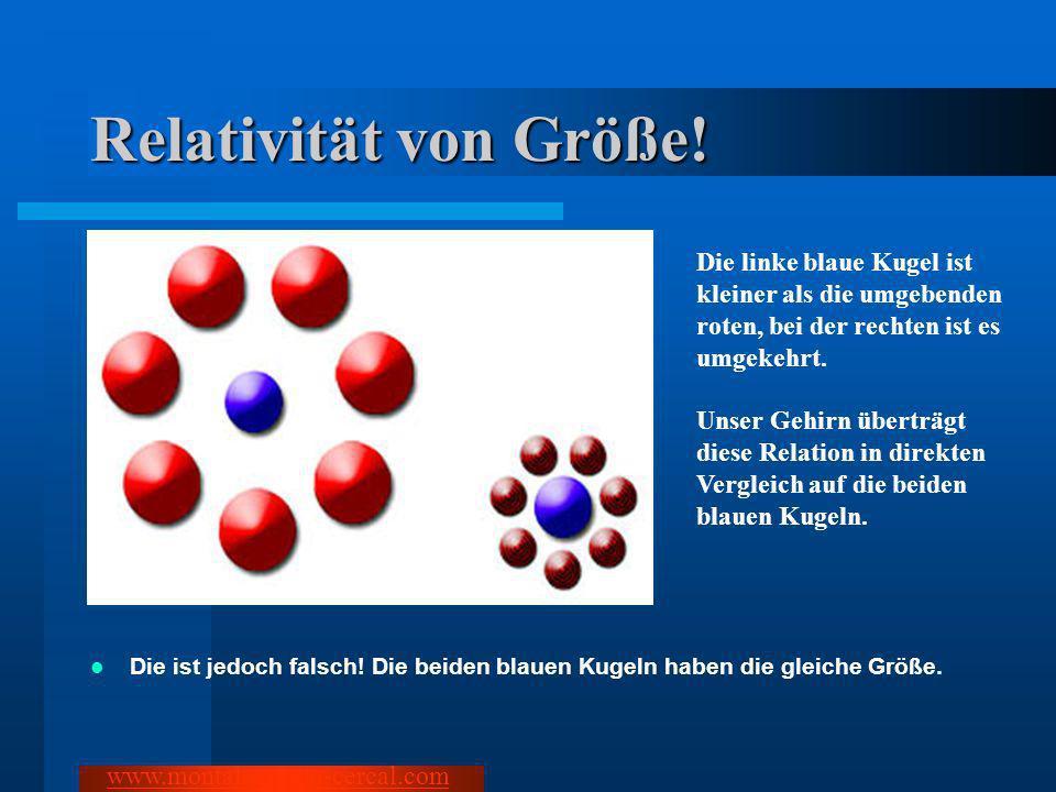 Relativität von Größe! Die linke blaue Kugel ist kleiner als die umgebenden roten, bei der rechten ist es umgekehrt.