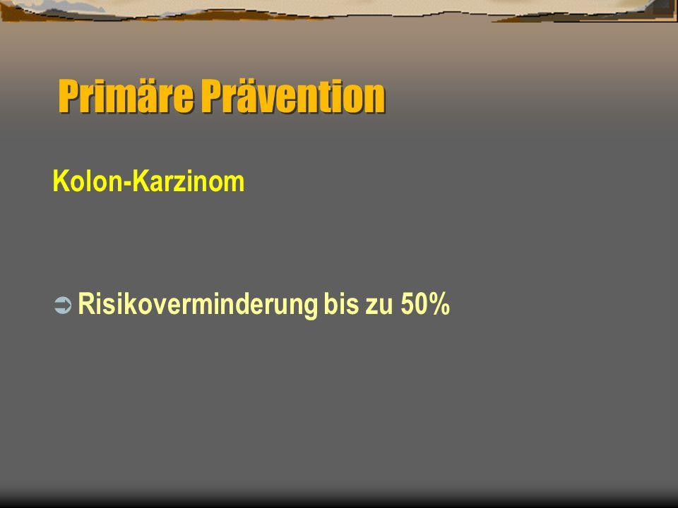 Primäre Prävention Kolon-Karzinom Risikoverminderung bis zu 50%