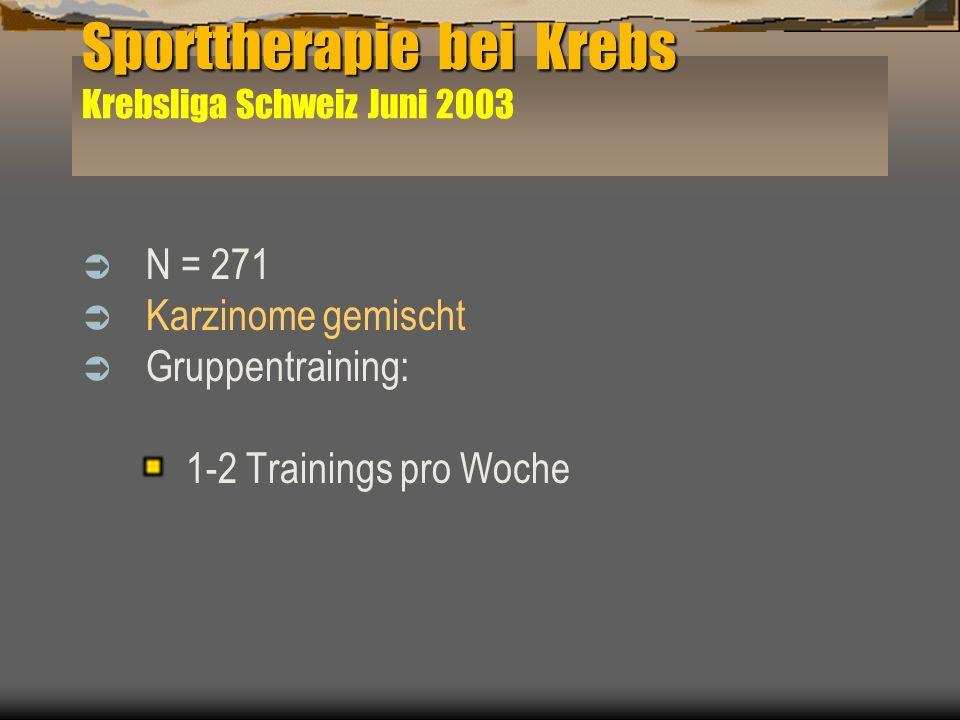Sporttherapie bei Krebs Krebsliga Schweiz Juni 2003