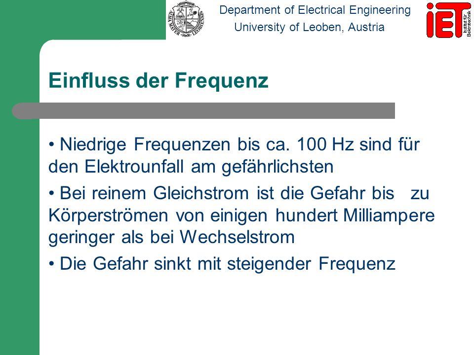 Einfluss der Frequenz Niedrige Frequenzen bis ca. 100 Hz sind für den Elektrounfall am gefährlichsten.