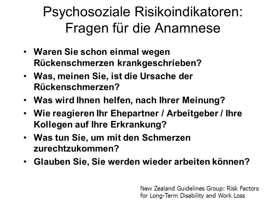 Psychosoziale Risikoindikatoren: Fragen für die Anamnese
