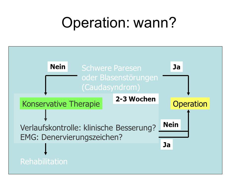 Operation: wann Schwere Paresen oder Blasenstörungen (Caudasyndrom)