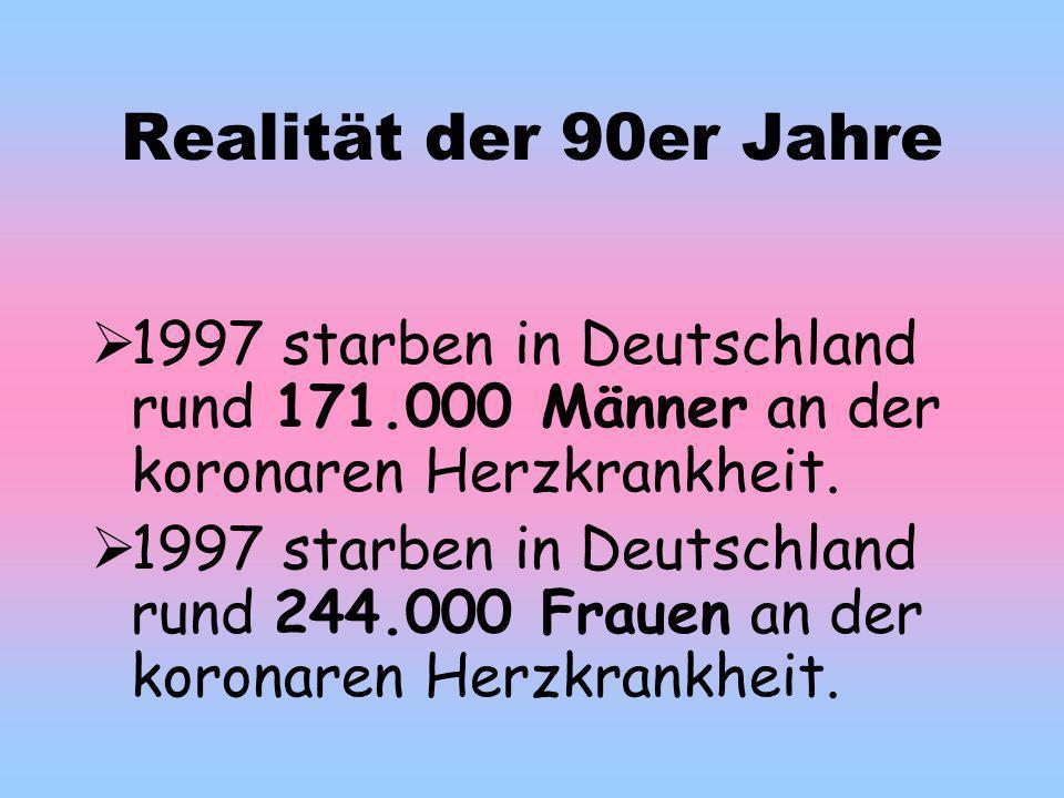 Realität der 90er Jahre 1997 starben in Deutschland rund 171.000 Männer an der koronaren Herzkrankheit.