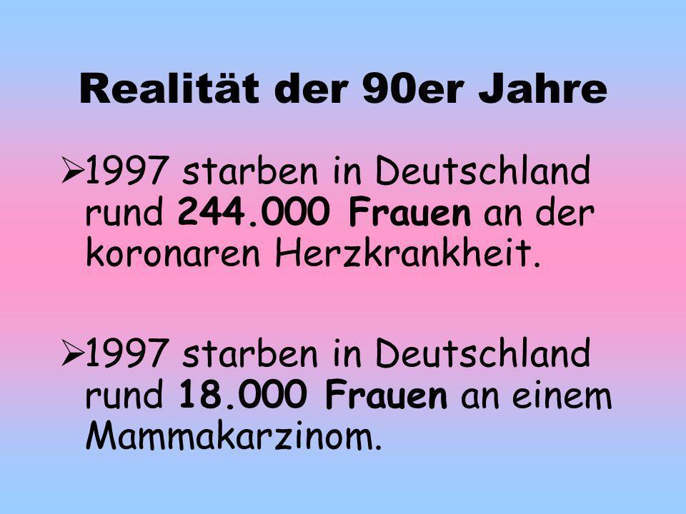 Realität der 90er Jahre 1997 starben in Deutschland rund 244.000 Frauen an der koronaren Herzkrankheit.
