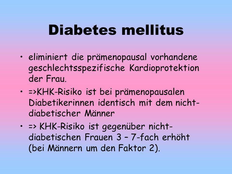 Diabetes mellitus eliminiert die prämenopausal vorhandene geschlechtsspezifische Kardioprotektion der Frau.