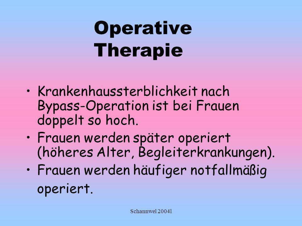 Operative Therapie Krankenhaussterblichkeit nach Bypass-Operation ist bei Frauen doppelt so hoch.