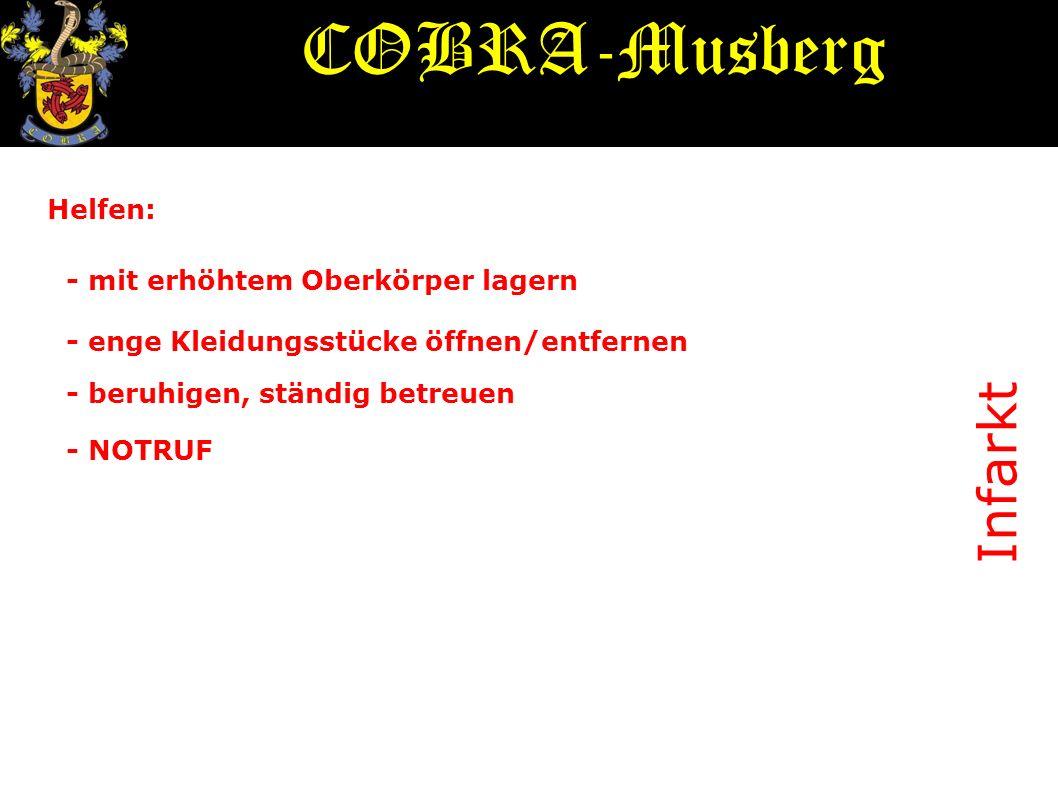 COBRA-Musberg Infarkt Helfen: - mit erhöhtem Oberkörper lagern