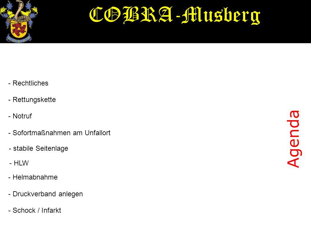 COBRA-Musberg Agenda - Rechtliches - Rettungskette - Notruf