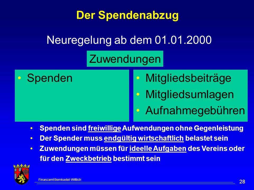Der Spendenabzug Neuregelung ab dem 01.01.2000 Zuwendungen Spenden