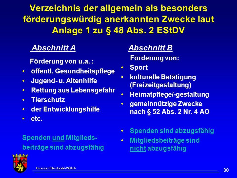Verzeichnis der allgemein als besonders förderungswürdig anerkannten Zwecke laut Anlage 1 zu § 48 Abs. 2 EStDV