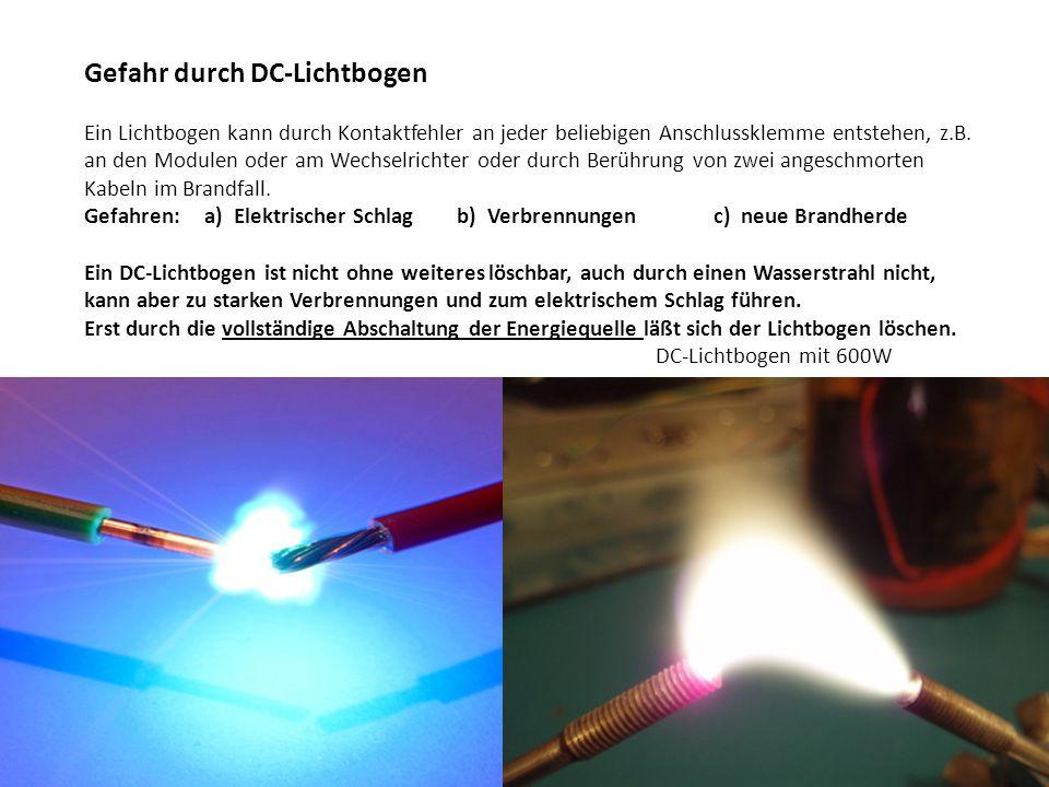 Gefahr durch DC-Lichtbogen