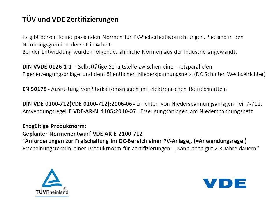TÜV und VDE Zertifizierungen
