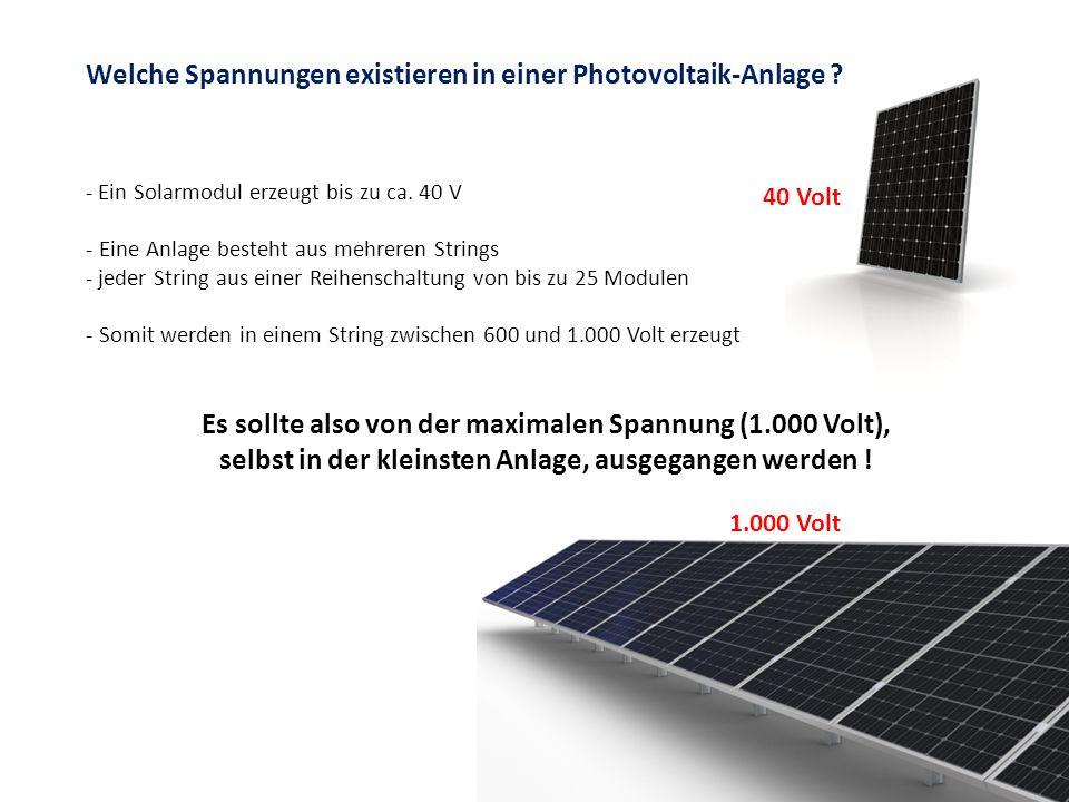 Welche Spannungen existieren in einer Photovoltaik-Anlage