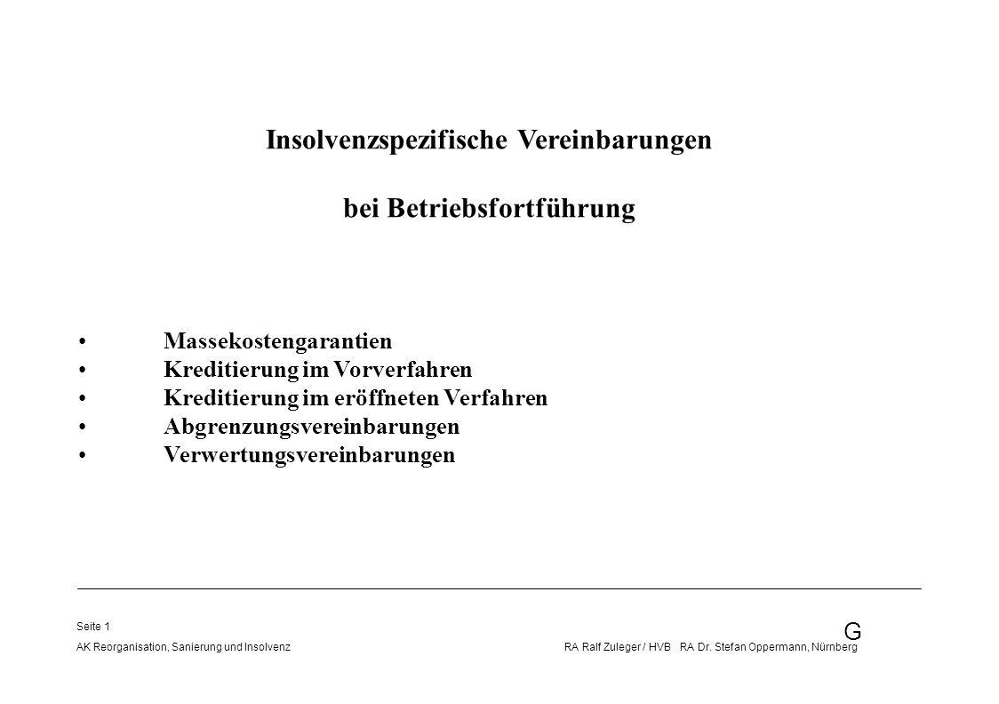 Insolvenzspezifische Vereinbarungen bei Betriebsfortführung