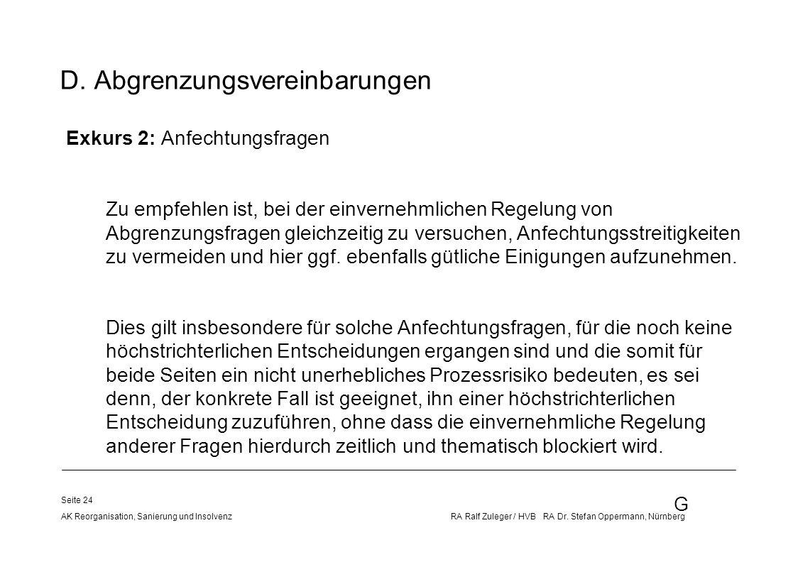D. Abgrenzungsvereinbarungen
