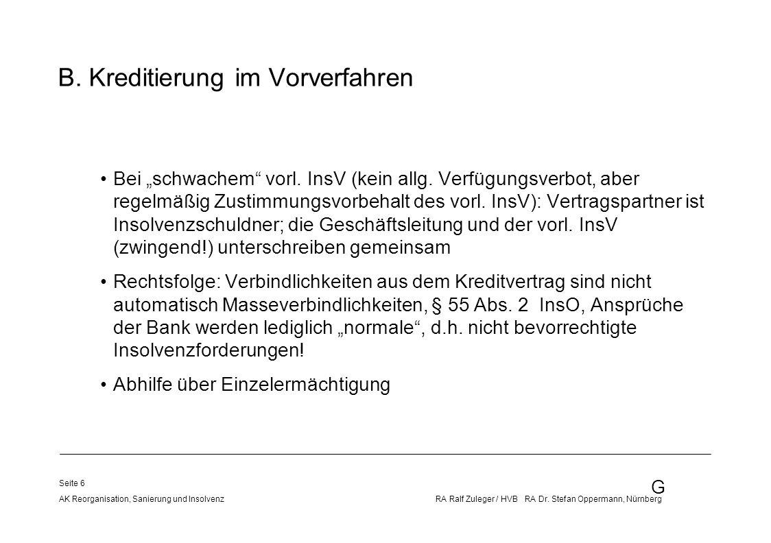 B. Kreditierung im Vorverfahren