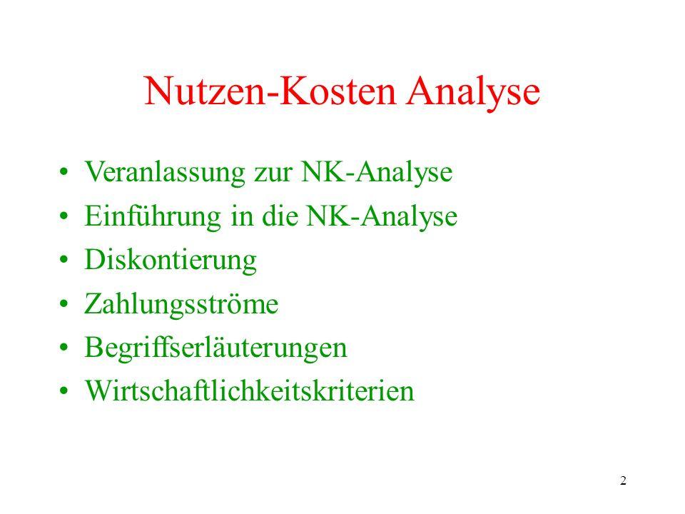 Nutzen-Kosten Analyse