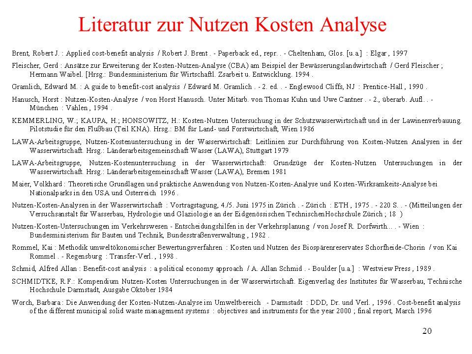 Literatur zur Nutzen Kosten Analyse
