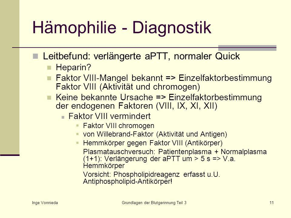 Hämophilie - Diagnostik