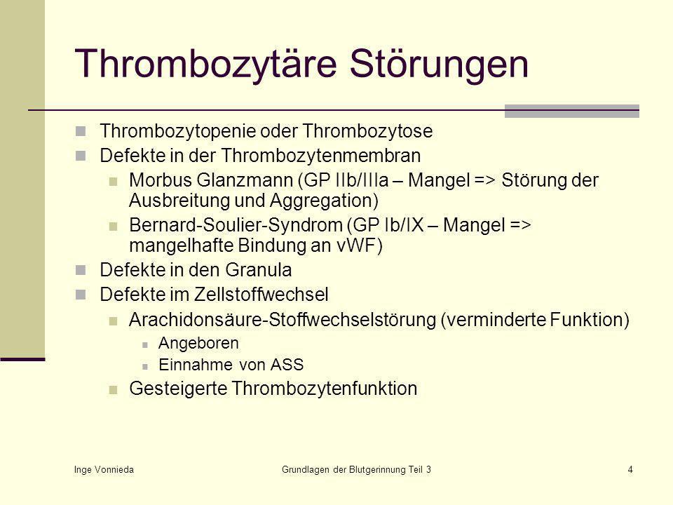 Thrombozytäre Störungen