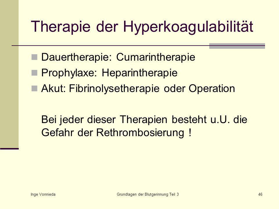 Therapie der Hyperkoagulabilität