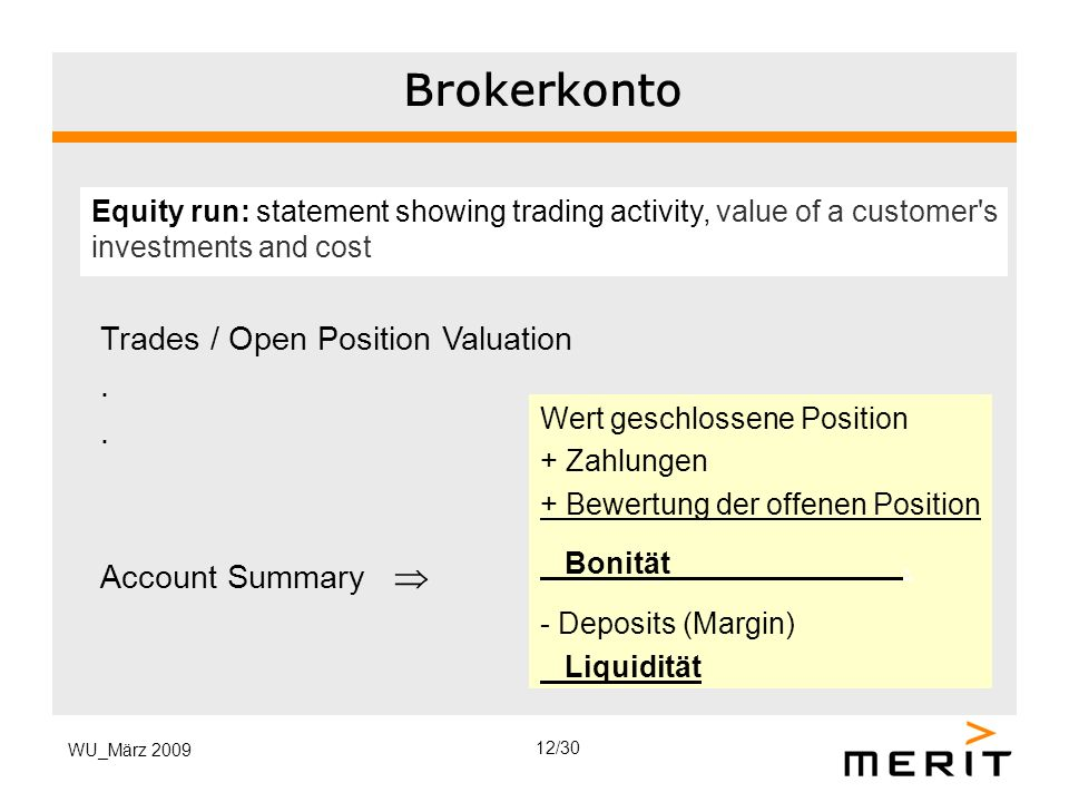 Brokerkonto Trades / Open Position Valuation . Account Summary 